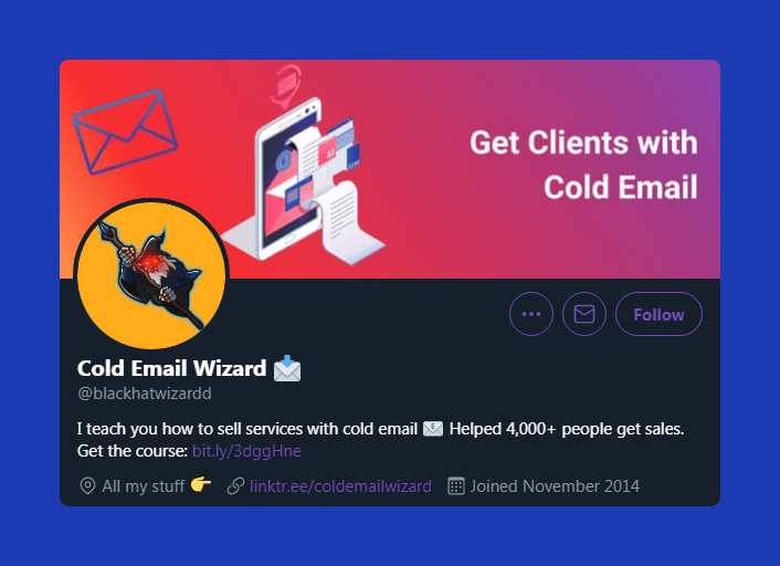 Cold Email Wizard's Twitter